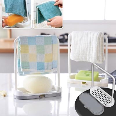 EZlife創意廚房抹布海綿瀝水架2入組(贈床單固定夾1組)