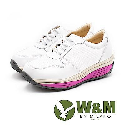 W&M FIT健走俐落運動風 彈力增高女鞋-白(另有黑)