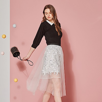 ICHE 衣哲 設計款3D精緻雕花透視半長造型紗裙-浪漫白