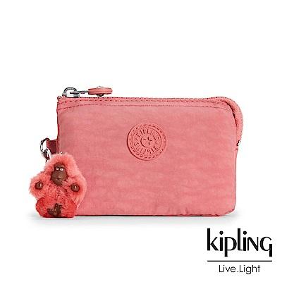 Kipling 零錢包 豆沙霧粉素面-小