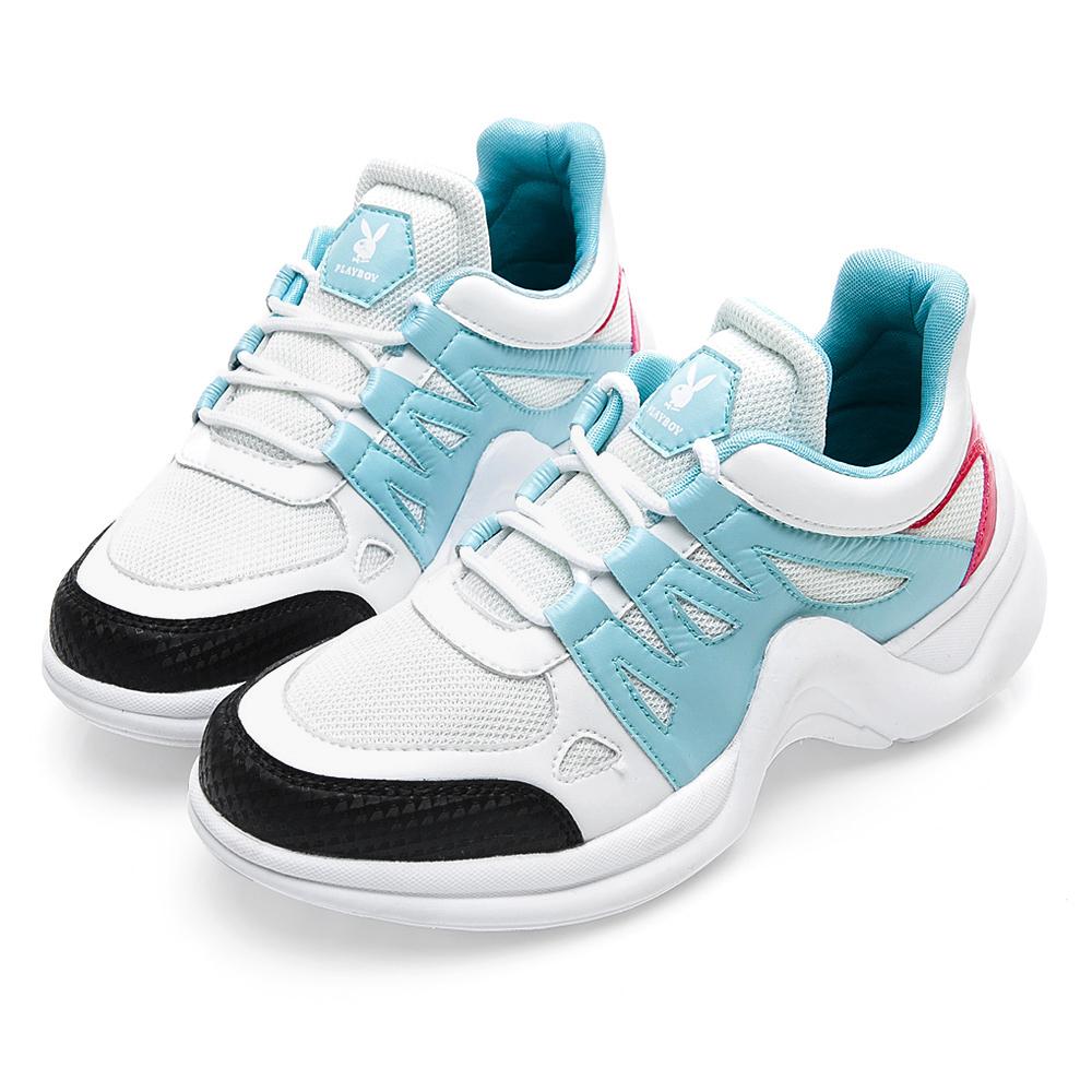 PLAYBOY Fantastic流線兔兔老爹鞋-白藍-Y52281F