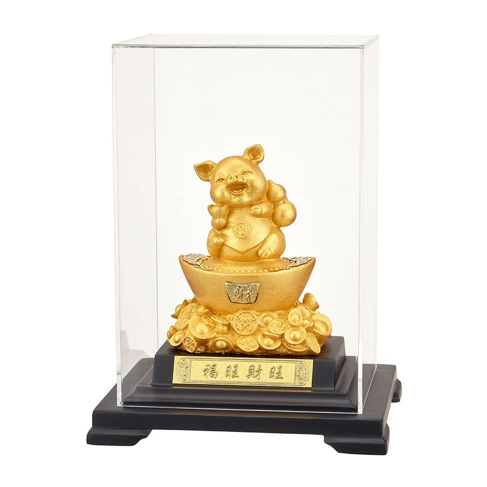 福旺財旺 葫蘆金豬 賺翻天 純金箔雕塑小櫥窗