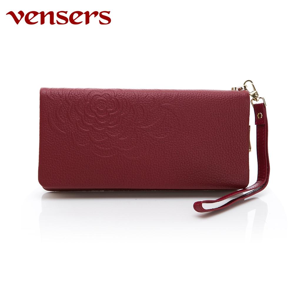 vensers 小牛皮潮流個性皮夾~(TA252202酒紅長夾)