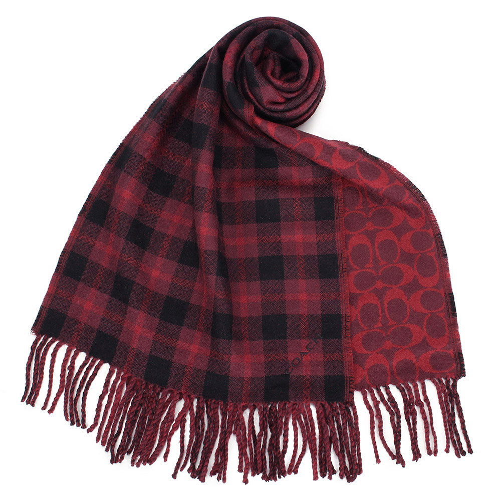 COACH 英倫風格紋與經典滿版C LOGO 100%羊毛雙面用圍巾-暗紅色