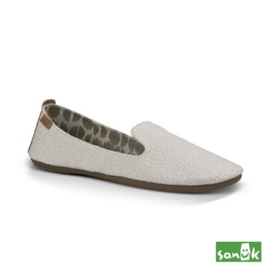 SANUK 女款 US7 舒適帆布平底鞋(米色)