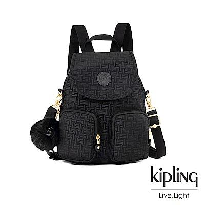 Kipling 黑色幾何紋路掀蓋後背包-FIREFLY UP