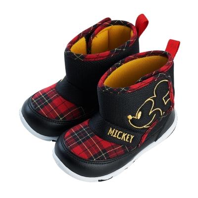 迪士尼童鞋 米奇 格紋短靴休閒鞋-黑