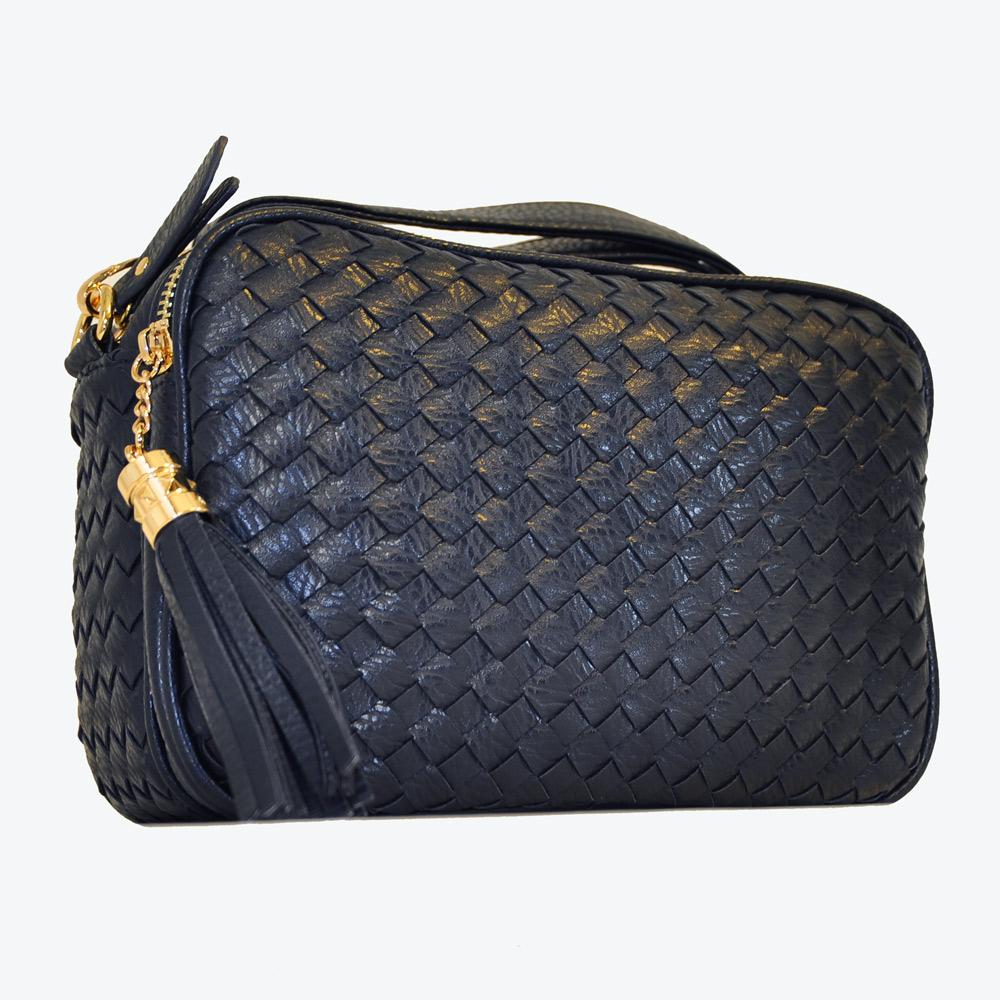 Miyo巴黎時尚經典編織方形流蘇肩斜兩用包(深藍)