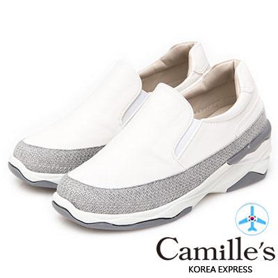 Camille's 韓國空運-正韓製-素面拼接針織運動懶人鞋-白色