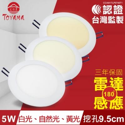 TOYAMA特亞馬 5W超薄LED雷達微波感應崁燈挖孔尺寸9.5cm x4件( 黃光、自然光、白光)