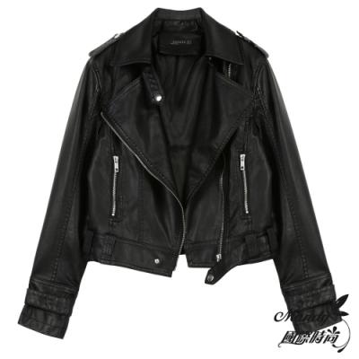 Mandy國際時尚 外套  短款皮衣夾克機車服朋克外套(4色)