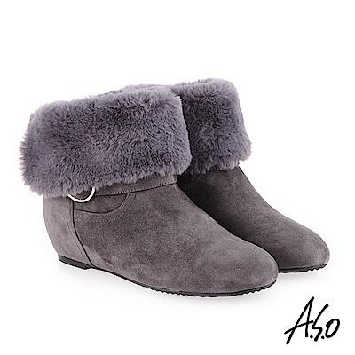 A.S.O 內增高 腿型修飾心機美靴 灰