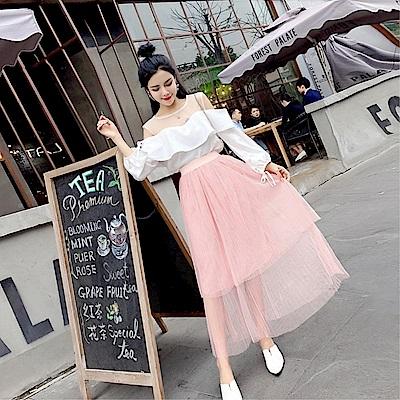 DABI 韓國風雪紡透視一字領套裝裙時髦網紗裙氣質長袖裙裝