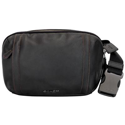 COACH黑色橘線全皮雙層單肩斜後背胸包腰包多用男包