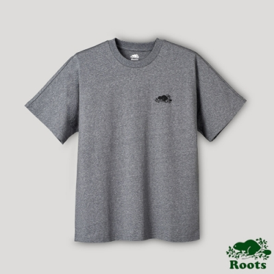 Roots男裝-璀璨銀河系列 寬版LOGO短袖T恤-深灰