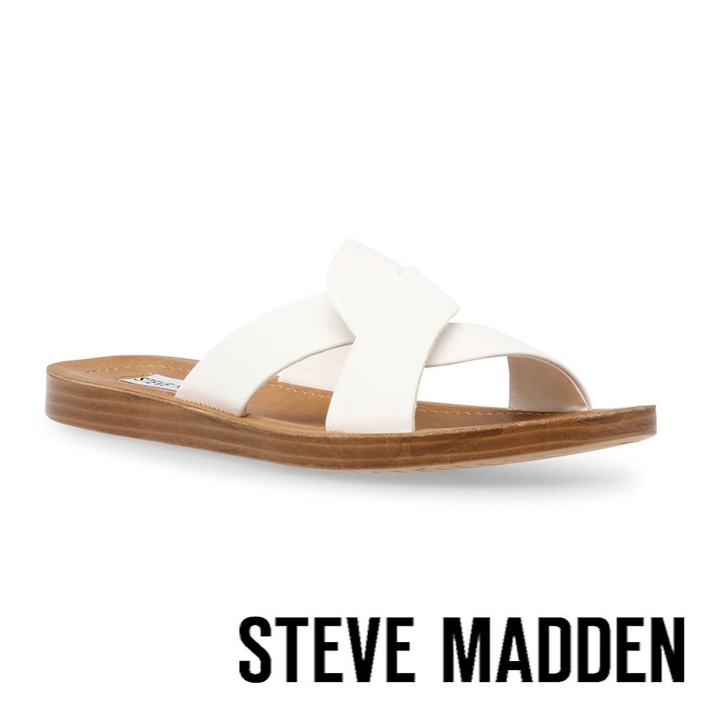 STEVE MADDEN-REALM 皮質交叉帶休閒涼拖鞋-白色