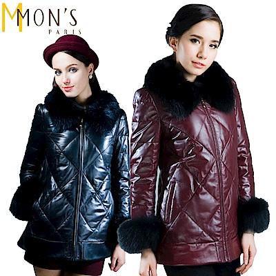 MONS 狐毛領A級小羊皮羽絨大衣(100%羊皮)
