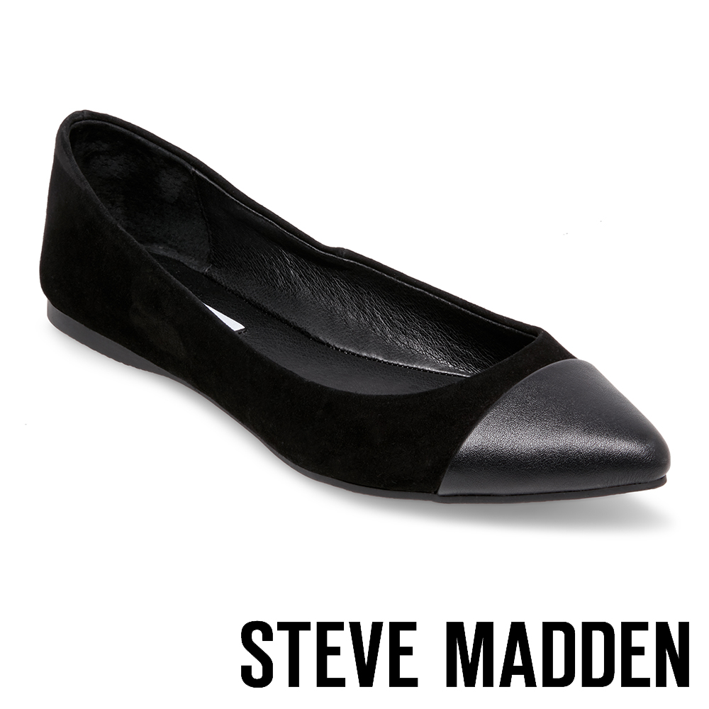 STEVE MADDEN DELANCY 麂皮尖頭撞色平底鞋-絨黑
