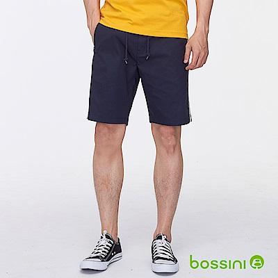 bossini男裝-素色邊條休閒短褲深藍