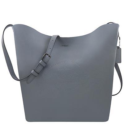 COACH 石墨藍色輕量皮革斜背包-大型