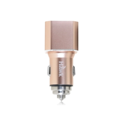 Hawk 雙USB電壓顯示車用充電器(01-AVT312)-金色