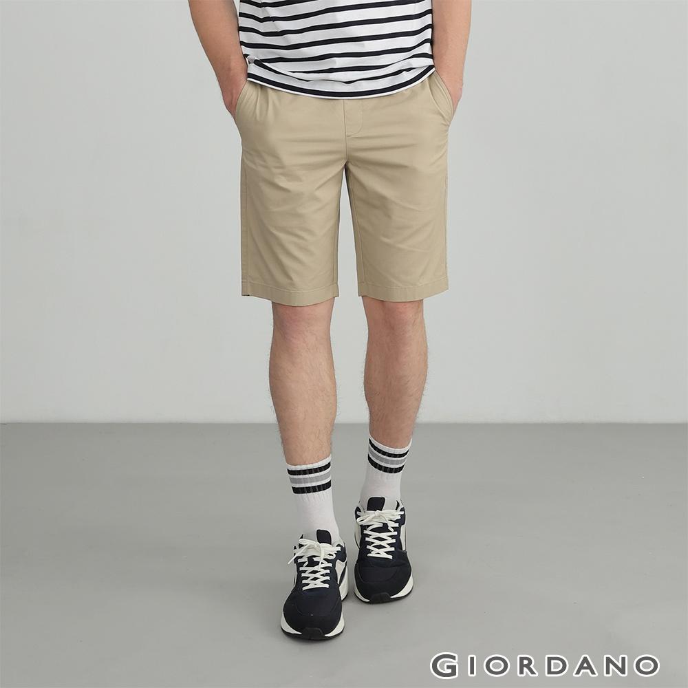 GIORDANO 男裝素色抽繩卡其短褲 - 14 陶瓷卡其