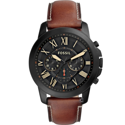 FOSSIL Grant 系列 羅馬時標計時腕錶(FS5241)44mm