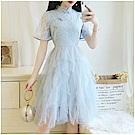 DABI 韓國復古風旗袍不規則蕾絲網紗短袖洋裝