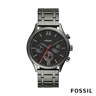 FOSSIL Fenmore Midsize紅色指針設計不銹鋼手錶 44mm BQ2408