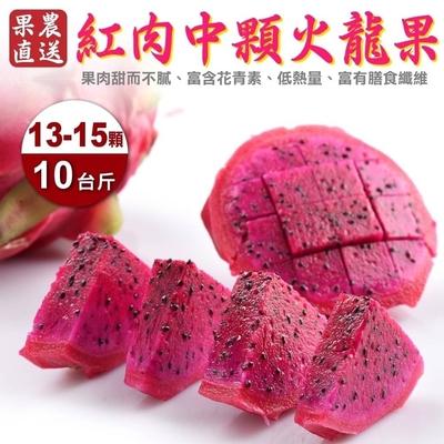 【果農直配】南投紅肉火龍果10斤(含箱重/13-15顆)