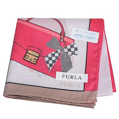 FURLA 繽紛愛心包包圖騰品牌字母LOGO帕領巾(粉紅系)