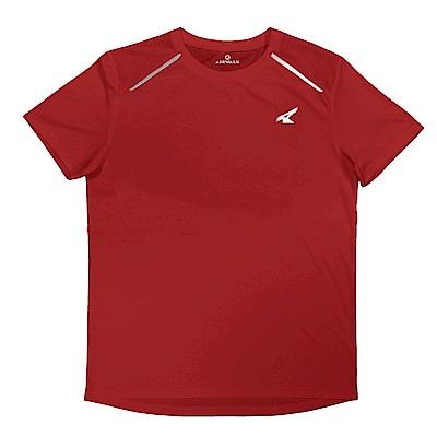 【AIRWALK】反光條設計吸排圓領T恤-紅色