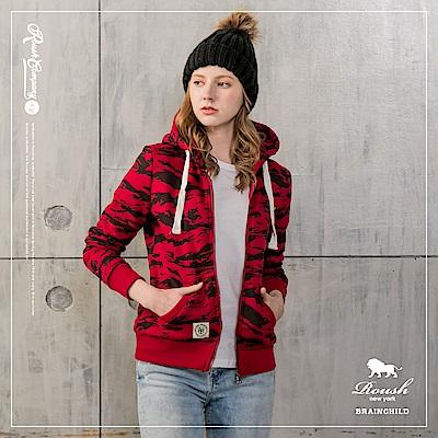 ROUSH 女生美式迷彩刷毛連帽外套 (2色)
