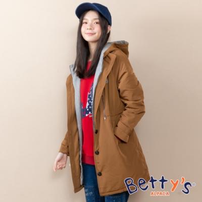 betty's貝蒂思 連帽配色假兩件鋪棉大衣(卡其)