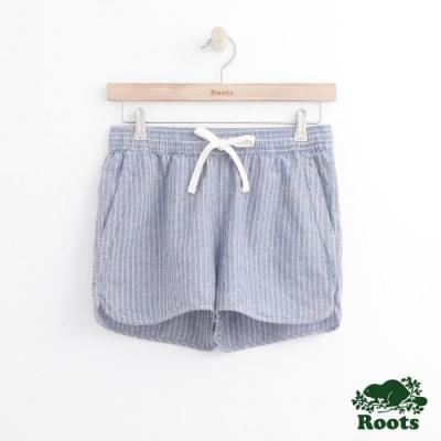 女裝Roots 抽繩平織短褲-藍