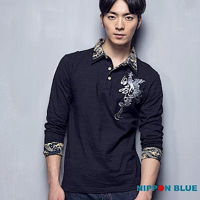 日本藍 BLUE WAY金標鳳凰精繡POLO衫(黑)