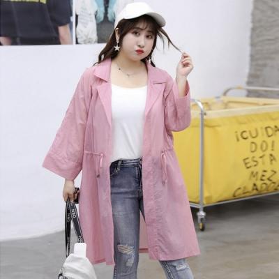 大碼韓版中長款輕薄長袖罩衫外套XL-4XL(共三色)-KVOLL