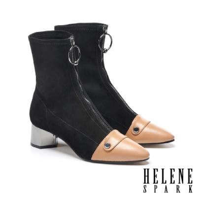 短靴 HELENE SPARK 摩登撞色金屬拉環異材質羊皮尖頭高跟短靴-黑