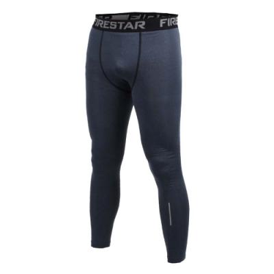 FIRESTAR 男機能緊身長褲-緊身褲 慢跑 路跑 健身 深麻灰黑