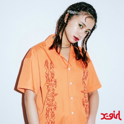 X-girl 1 OPEN COLLAR EMBROIDERY SHIRT短袖襯衫-橘