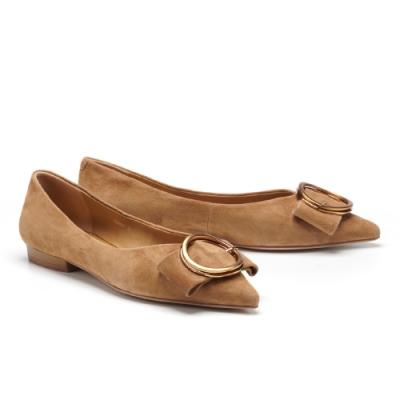 低跟鞋 AS 金屬大圓釦蝴蝶結全羊皮尖頭低跟鞋-駝