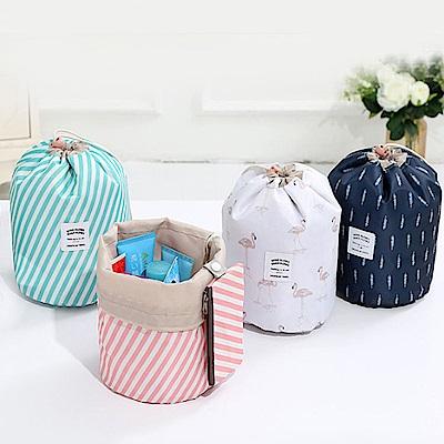 E.City_(買2送2)新款加厚防潑水大容量圓筒化妝包收納袋3件組-共4套