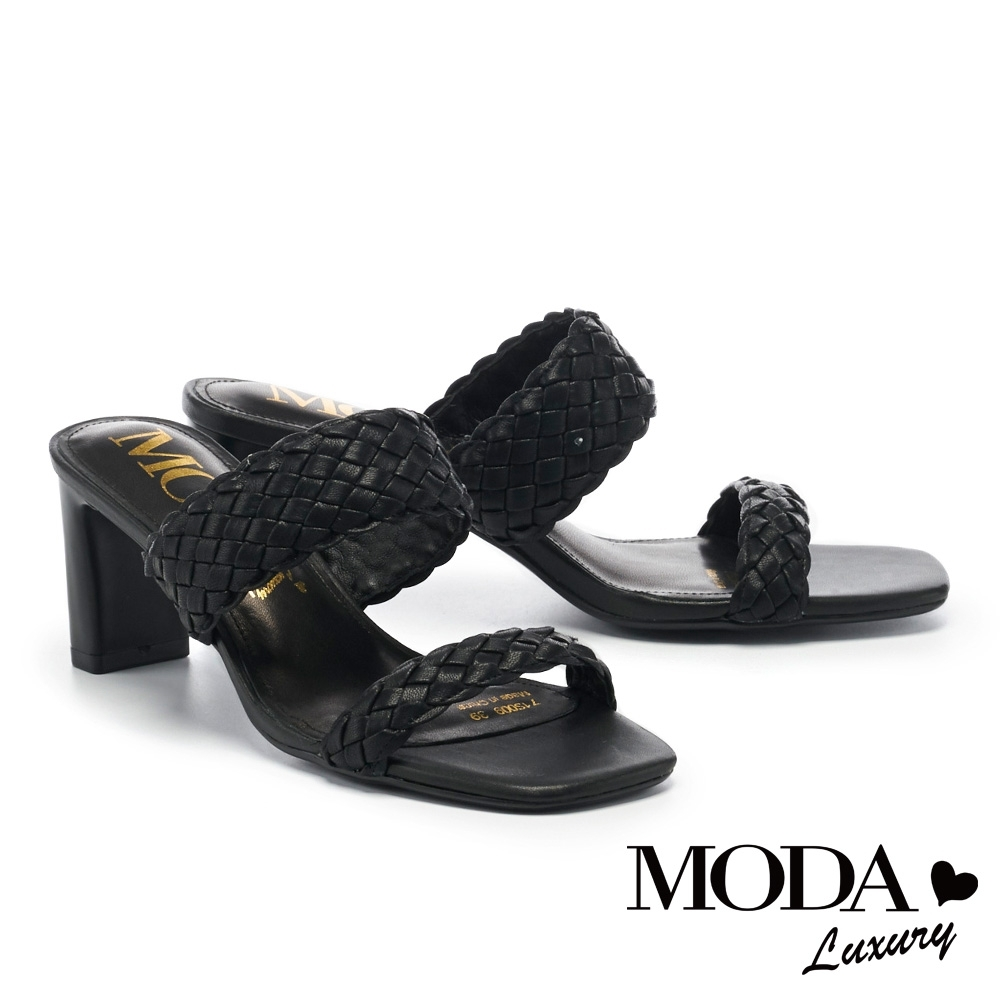 拖鞋 MODA Luxury 簡約質感純色編織高跟拖鞋-黑