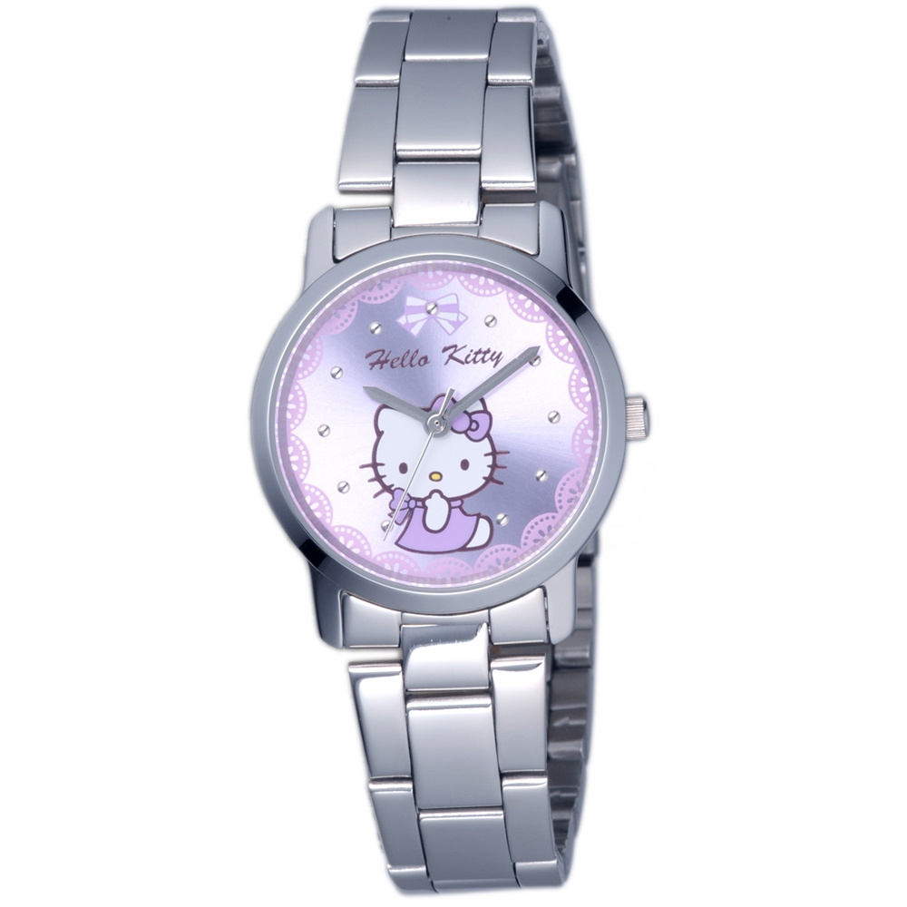 HELLO KITTY 凱蒂貓可愛滿分俏麗手錶-紫/30mm