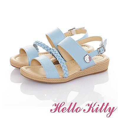 HelloKitty 傳統手工鞋高級超纖皮革減壓氣質涼鞋童鞋-水