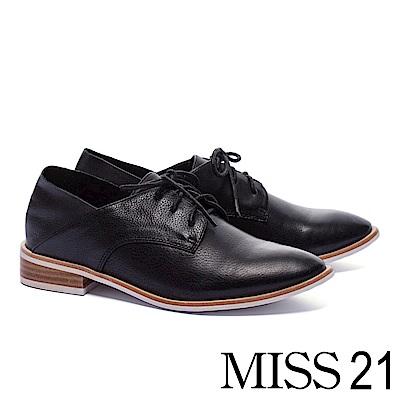 低跟鞋 MISS 21 復古紳士兩穿後踩式綁帶全真皮牛津低跟鞋-黑