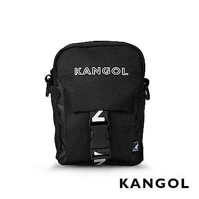 福利品 KANGOL LIBERTY系列 韓版潮流LOGO背帶小型插釦側背包-黑色