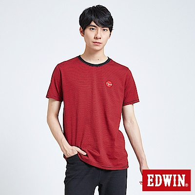 EDWIN 搖滾不死 EDGE LOGO條紋短袖T恤-男-紅色
