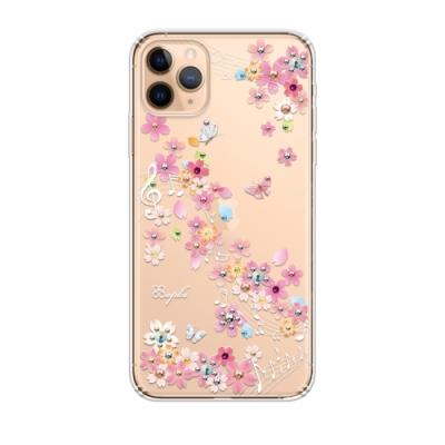 apbs iPhone 11 Pro 5.8吋施華彩鑽防震雙料手機殼-彩櫻蝶舞