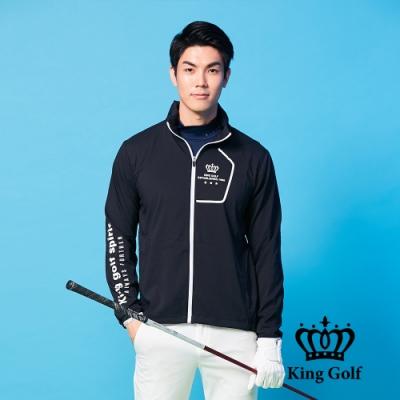 【KING GOLF】LOGO印圖防風防水連帽長袖薄外套-黑色